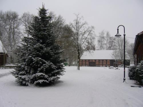 Blick auf Scheune im Wintere